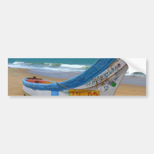Colorful Boat on Sandy Beach Ocean Scene Bumper Sticker