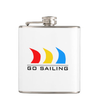 Colorful Boat Sails Hip Flask