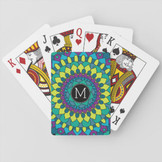 Colorful Bohemian Flower with Custom Monogram Playing Cards