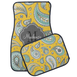 Colorful Bohemian Paisley Custom Monogram Auto Mat