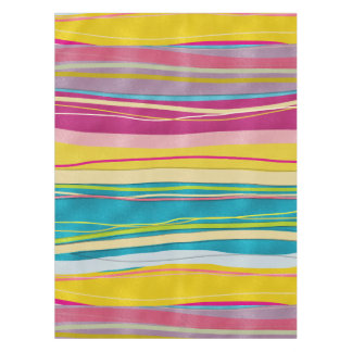 Colorful Bohemian Wavy Glitter Pattern Tablecloth