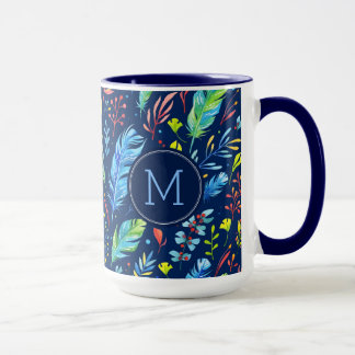 Colorful Boho Feather & Flowers Pattern Mug