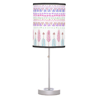 Colorful Boho Tribal Aztec Feather Arrows Pattern Table Lamp