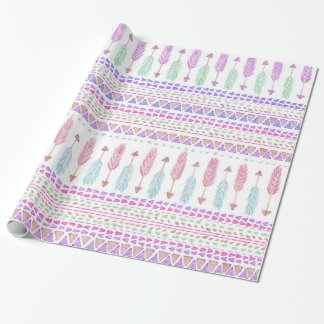 Colorful Boho Tribal Aztec Feather Arrows Pattern Wrapping Paper