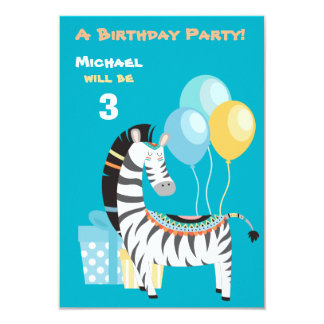 Colorful Boho Zebra Birthday Party Invitation