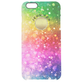 Colorful Bokeh Glitter Gold Accent Clear iPhone 6 Plus Case