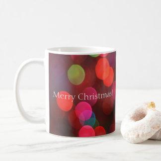 Colorful Bokeh Lights Merry Christmas Coffee Mug