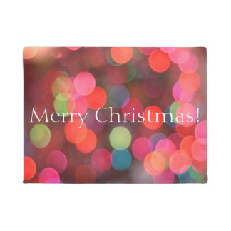 Colorful Bokeh Lights Merry Christmas Greeting Doormat