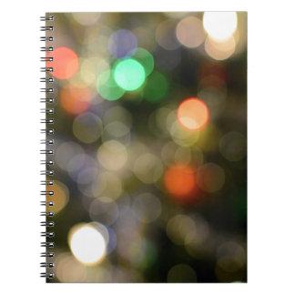 Colorful bokeh lights notebooks
