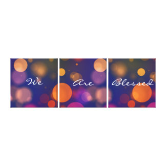 "Colorful Bokeh Lights ""We Are Blessed"" Canvas Print"