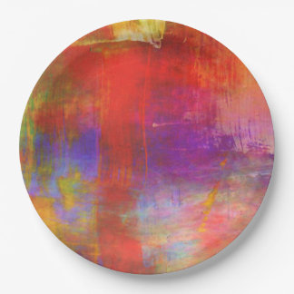Colorful Bold Abstract Painting 9 Inch Paper Plate
