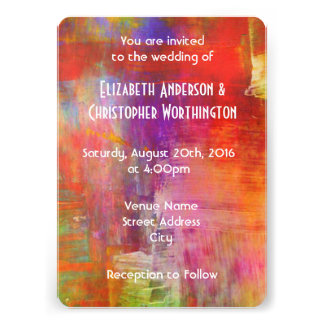 "Colorful Bold Abstract Painting Wedding 5"" X 7"" Invitation Card"