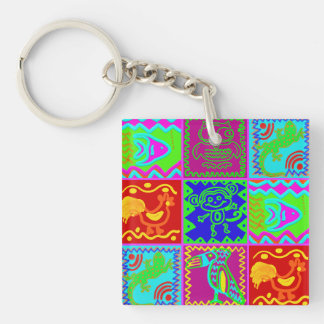 Colorful Bold Funky Animals Patchwork Pattern Acrylic Key Chain