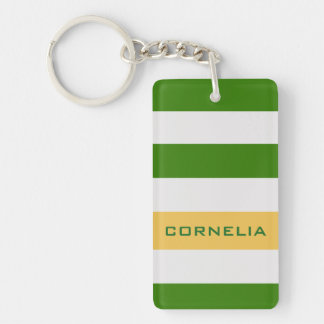 Colorful Bold Green Stripes with Custom Name Single-Sided Rectangular Acrylic Keychain