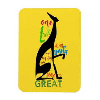 Colorful Bold Greyhound Black Dog Friend Cheerful Rectangular Photo Magnet