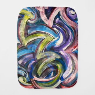 Colorful Bold Handpainted Brushstrokes-Abstract Baby Burp Cloth