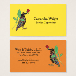 Colorful Bold Mexican Folk Art Oaxacan Crow & Rose Business Card