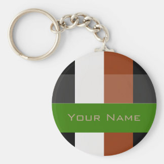 Colorful Bold Stripes Basic Round Button Keychain