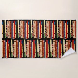 Colorful Books Abstract Beach Towel