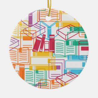 Colorful books binders pattern round ceramic ornament