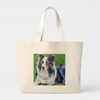 Colorful BORDER COLLIE Large Tote Bag