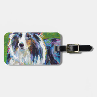 Colorful BORDER COLLIE Luggage Tag