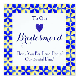 """Colorful Border For Being My Bridesmaid Thank You 5.25"""" Square Invitation Card"""