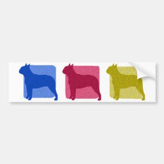 Colorful Boston Terrier Silhouettes Bumper Sticker
