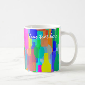 Colorful bottles texture coffee mug