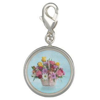 Colorful Bouquet in a Basket Charms