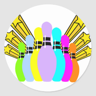 Colorful Bowling Pins Round Sticker