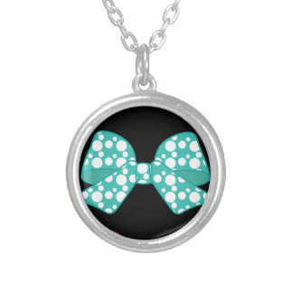 Colorful-Bows White Dots Cool Silver Plated Necklace