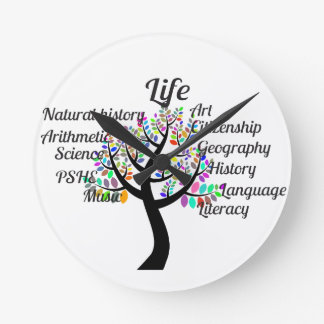 Colorful Branches of Life and Education Wallclock