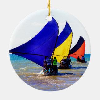 Colorful Brazilian Jangadas sailboats Ceramic Ornament