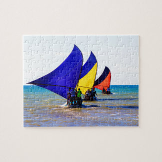 Colorful Brazilian Jangadas sailboats Jigsaw Puzzle