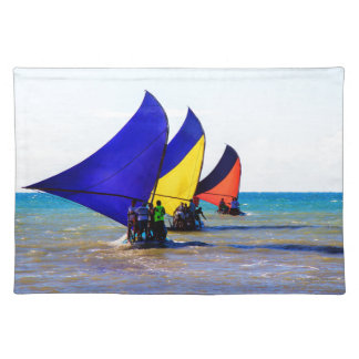 Colorful Brazilian Jangadas sailboats Placemat