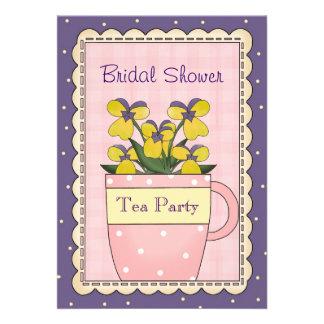 Colorful Bridal Shower Tea Party Invitation