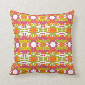 colorful bright abstract retro art india pattern throw pillow