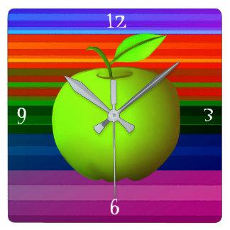 Colorful Bright Cartoon Bold Green Apple Stripes Clocks