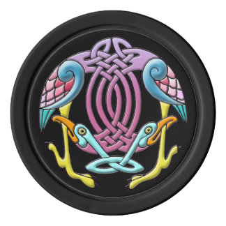 Colorful bright celtic birds in unusual colors set of poker chips