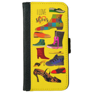 Colorful Bright Chaos Of Shoes Background Yellow iPhone 6 Wallet Case