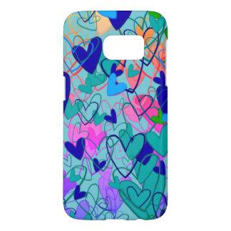 Colorful Bright Dramatic Hearts Girly Blue Cartoon Samsung Galaxy S7 Case