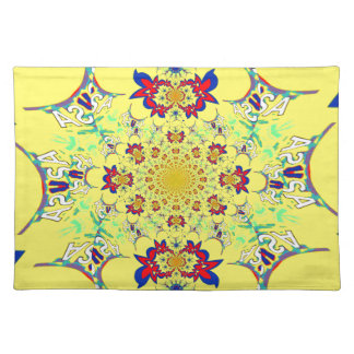 Colorful Bright floral damask design Place Mat