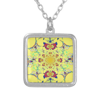 Colorful Bright floral damask design Silver Plated Necklace