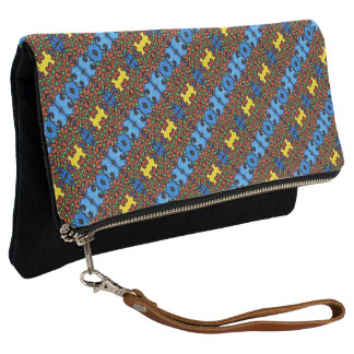Colorful Bright Floral Pattern Clutch