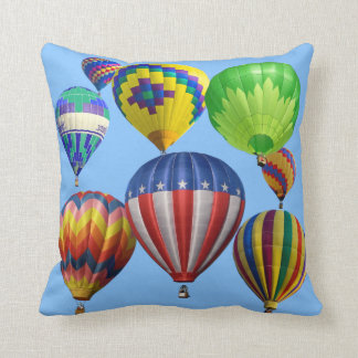 Colorful Bright Hot Air Balloons Single Sided Throw Pillow
