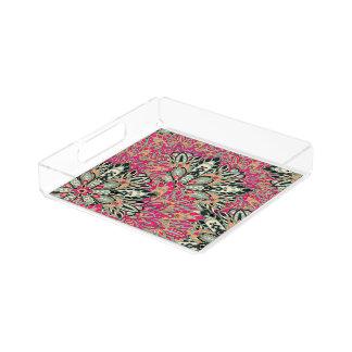 Colorful bright mandala pattern. acrylic tray
