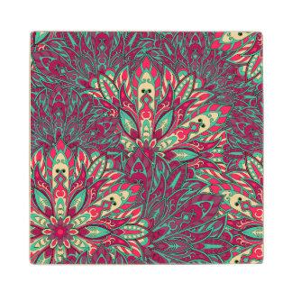 Colorful bright mandala pattern. maple wood coaster