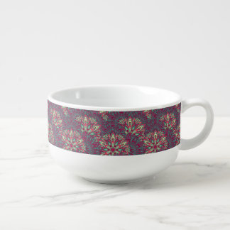Colorful bright mandala pattern. soup bowl with handle