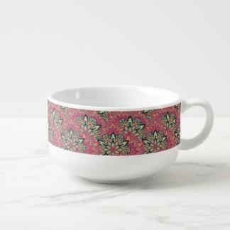 Colorful bright mandala pattern. soup mug